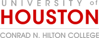 University of Houston logo showing a grayed out University of and a red Houston above a horizontal rule, below which reads Conrad N. Hilton College